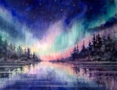 Northern Lights Reflections 16x20 watercolour painting by Ken Crawford