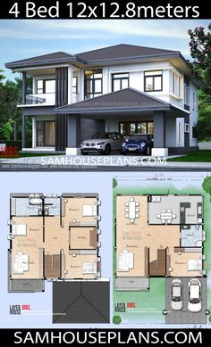 House plans idea x. 8 m with 4 bedrooms - sam house plans Two Story House Design, 2 Storey House Design, Duplex House Design, Duplex House Plans, Simple House Design, Family House Plans, Dream House Plans, Modern House Design, House Layout Plans
