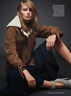 Stephanie Hall for HB UK- Coach shearling jacket
