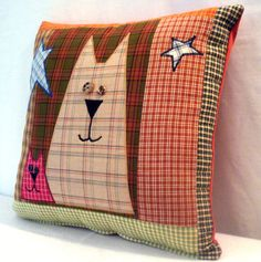 Arte popular gato funda de almohada por uniquelynancy en Etsy
