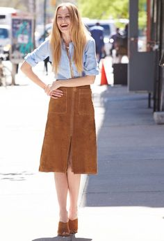 look shirt suede skirt