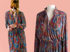 70s dress Vintage 70s paisley dress Long Princess sleeves daydress colorful 70s womens fashion shirt dress Size Medium/ Large by SuitcaseInBerlin on Etsy