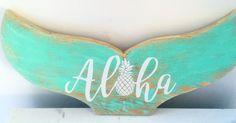Our Aloha Mermaid Tail, up-cycled wood cut out is the perfect addition to any room in your house. Rest it on a shelf or even hang it on a wall.