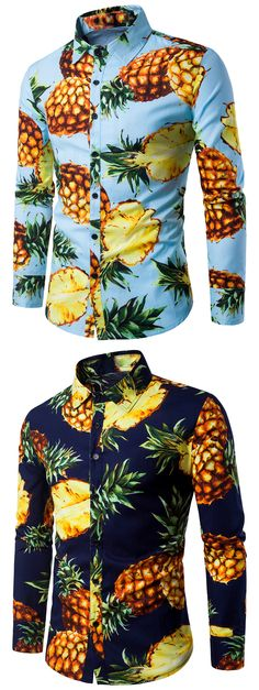 Turndown Collar 3D Pineapple Print Shirt