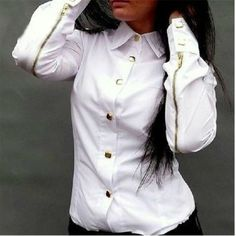 Cheap Fashion Turndown Collar Long Sleeves Single-breasted Zipper Decorated Solid White Shirt_Blouses&Shirts_Tops_Womens Clothing_LovelyWholesale | Wholesale Shoes,Wholesale Clothing, Cheap Clothes,Cheap Shoes Online. - LovelyWholesale.com