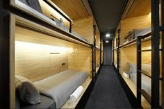 Can a capusle hotel be considered luxury? Have a look at The Pod Boutique Capsule Hotel in Singapore and let me know your thoughts! Capsule Hotel, Bunk Bed Designs, Hotel Bed, Hotel Interiors, Dormitory, Interiores Design, Bunk Beds, Interior Architecture, Guest Room
