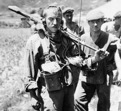 Carrying a Bren Gun, Cpl Andy Dore of Royal Canadian 22nd Regt, prepares to go out on patrol during Korean War