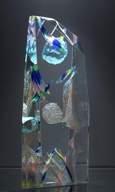 """Exoplanet Bleu-Argent"" original crystal sculpture by Yan Zoritchak."