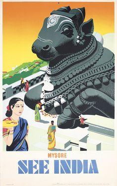 1950s India Travel poster Mysore Dragon  Estimated Price: $280 - $500  Description: Anonymous - India. See India - Mysore. Offset ca. 1950 . Size: 39.7 x 24.8 in. (101 x 63 cm) . Printer: Associated Printers, Madras . C