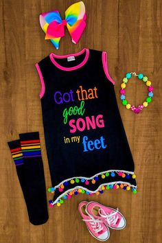"""Our Trolls inspired """"Got That Good Song In My Feet"""" Pom Pom dresses are great quality and stunning! Perfect for Summer, back to school and even photo props! Su"""