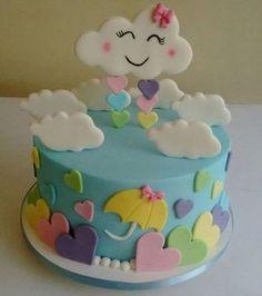 BOLO FESTA NUVEM DE AMOR Baby Cakes, Baby Shower Cakes, Baby Birthday Cakes, Fondant Cakes, Cupcake Cakes, Cloud Cake, Fake Cake, Cute Cakes, Cake Designs