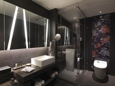 Dark Small Bathroom Design http://hative.com/small-bathroom-design-ideas-100-pictures/