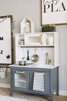 Fantastic Photos Playroom Makeover Suggestions On among my very frequent visits to IKEA I discovered cheaper lacking platforms that have been the Playroom Closet, Playroom Organization, Ikea Playroom, Montessori Playroom, Ikea Kids Kitchen, Diy Kitchen, Kitchen Ideas, Kitchen Design, Dinette Ikea