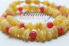 Amber (Butter - Butterscotch) Teething Necklace with Argentina Red Rhodontite
