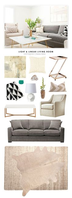 A light and Linear Living Room featured on Coveted Home recreated for less on Copy Cat Chic by @audreycdyer