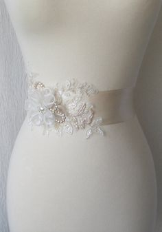 Pale Champagne Bridal Sash Wedding Gown Sash by TheRedMagnolia, $145.00
