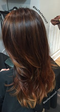 Balayage Ombré, @kenra color, layers, long hair, caramel, copper, brunette, @btcmag