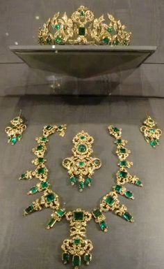 The Denmark Emerald Parure Tiara. It was given to Sophie Magdalene (1700-1770) Germany by her husband King Christian VI (1699 -1746) Denmark, on the birth of the future Frederik V (1723-1766) Denmark. She refused to wear them because they had belonged to her father-in-law, Frederick IV's (1671-1730) Denmark 3rd wife Anne Sophie Reventlow (1693-1743) Denmark who he married without divorcing & before the death of his 1st wife, thereby committing bigamy.
