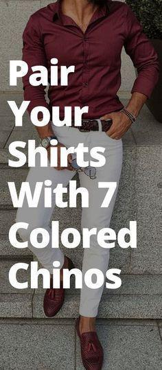 Pair Your Shirts With 7 Colored Chinos Maroon Shirt Outfit, Red Shirt Outfits, Maroon Shirts, Outfits Hombre, Maroon Shirt Mens, Dress Shirts, Big Men Fashion, Mens Fashion Blog, Fashion Mode