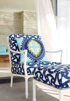 Trina Turk fabric in blue and white.  Don't like the pillow pattern but love the rest.