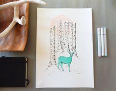 Woodland art. Deer illustration. Birch forest art. by DecorAsylum