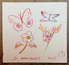 "Milionis ""Butterfly - Flying Rainbow Hearts"" Signed Colored Pencil Drawing 2015 #PopArt"