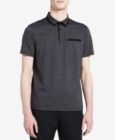 Calvin Klein Men's Contrast Trim Polo, Created for Macy's - Gray