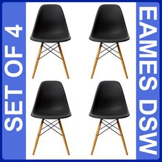 £139.99 EAMES EIFFEL DSW SIDE RETRO LOUNGE DINING CHAIR CHAIRS WOODBASE ARMCHAIR BLACK + | eBay