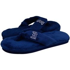 MLB Boston Red Sox Ladies Navy Blue Plush Thong Slippers « Shoe Adds for your Closet