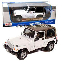 "Maisto Special Edition Series 1:18 Scale Die Cast Car - White Sports Utility Vehicle JEEP WRANGLER SAHARA (SUV Dimension: 8"" x 3-1/2"" x 3-1/2"")"