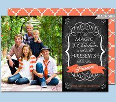 Photo Christmas Card Chalkboard Style Printable by cardvarkdesigns, $18.00