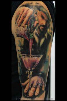 Bartender_serving cocktail_tattoo