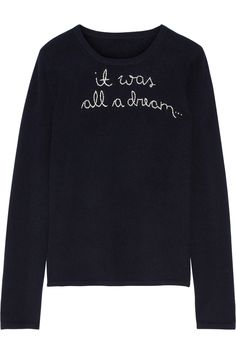 LINGUA FRANCA It Was All A Dream embroidered cashmere sweater