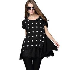 Item Code: XaPc4hri Women's Casual Blouse w/ Patchwork & Polka Dots Print White & Black. For Info Send Item Code here http://on.fb.me/1ICZ89q.