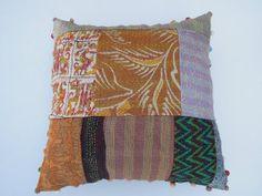 16x16 Handmade Silk Sari Kantha Patchwork Cushion by Labhanshi, $22.00