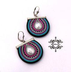 India Jewelry, African Jewelry, Soutache Earrings, Copper Earrings, Paper Jewelry, Fabric Jewelry, Beaded Bracelet Patterns, Beaded Bracelets, Earrings Handmade