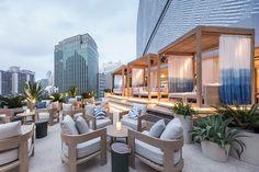 Yabu Pushelberg designs new Park Hyatt Bangkok Terrace Restaurant, Outdoor Restaurant, Restaurant Design, Outdoor Lounge, Outdoor Spaces, Outdoor Decor, Bangkok, Rooftop Design, Yabu Pushelberg