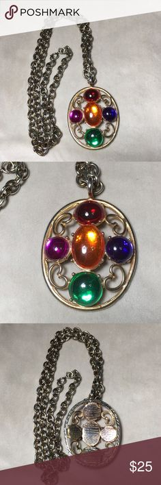 "Vintage gold tone and colorful pendant This necklace is heavy!! Pendant measures 3""T X 2.25""W. Chain measures 35 inches. Vintage condition, surface scratches and wear. Vintage Jewelry Necklaces"
