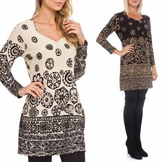 Ladies BLACK or CREAM Tribal Print Cozy Knit Dress Tunic Top S M L XL 1X 2X 3X #HighnessNYC #Tunic #Casual
