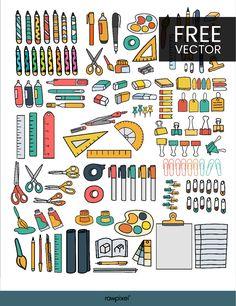 Download free vectors of Doodle Stationary Set at rawpixel.com