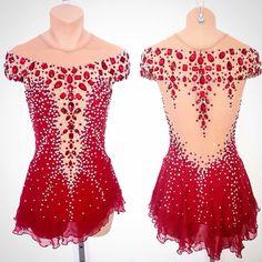 Red jewelled figure skating dress