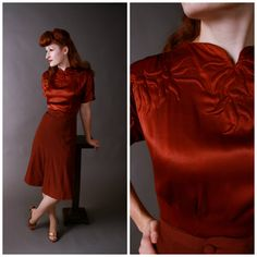 GORGEOUS Vintage 1930s Dress - Late 30s/Early 40sHomemade Satin and Wool Crepe Rust and Brown Dress