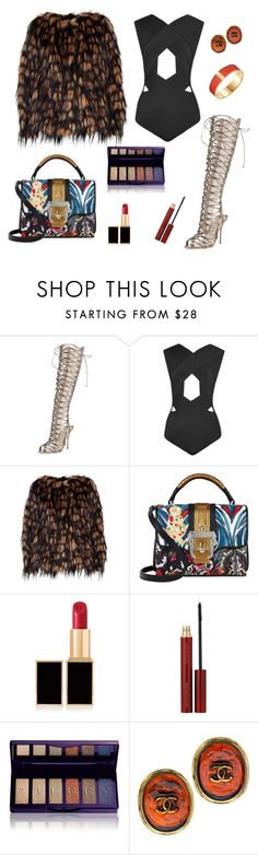 """""""side to side"""" by leafmarie ❤ liked on Polyvore featuring Sophia Webster, Balmain, Dries Van Noten, Paula Cademartori, Tom Ford, Kevyn Aucoin, By Terry and Chanel"""