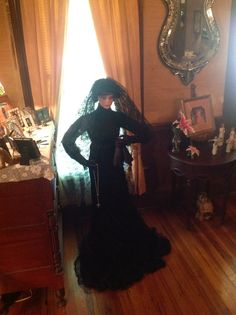 My widow, made of paper mâché. I dyed a wedding gown black.