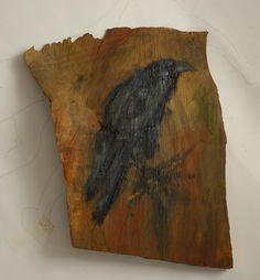 Kraai, gewoon kraai olieverf op schors, ca. 28 x 20