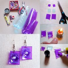 DIY Jewelry Projects and Homemade Jewelry. Gorgeous homemade accessories that also make great gifts. Empty Plastic Bottles, Plastic Bottle Flowers, Plastic Bottle Crafts, Plastic Jewelry, Plastic Beads, Water Bottles, Recycled Jewelry, Recycled Crafts, Bottle Jewelry