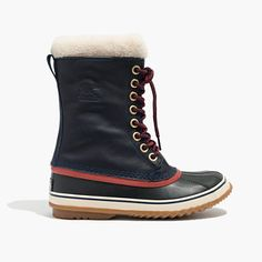 """Founded in 1962, Sorel is devoted to making last-forever boots that can withstand some serious weather. With a waterproof oiled-leather outer and a removable wool-and-shearling liner, this durable pair will keep your feet warm even when temps dip into the minuses—and can take on the most rigorous outdoor adventures. This exclusive version was made just for us and this color can be found here and only here. When you select your size, """"H"""" equals a half size. <ul><li>8"""" shaft height (based on…"""