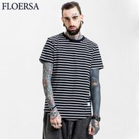 FLOERSA Striped T Shirt Men Spring Summer 2017 Short Sleeve Tee Shirt Homme Loose Casual Brand Clothing Plus Size#606-45