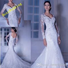 Wholesale Mermaid Wedding Dresses - Buy 2014 Sexy Mermaid/Trumpet Gown With A Sweetheart Neckline And Long Sheer Sleeves Low Back Attached Chapel Train Lace Bridal Wedding Dresses, $193.0 | DHgate