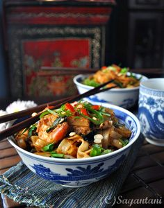 Char kway teow (Malaysian stir fried Flat rice noodles with shrimp)